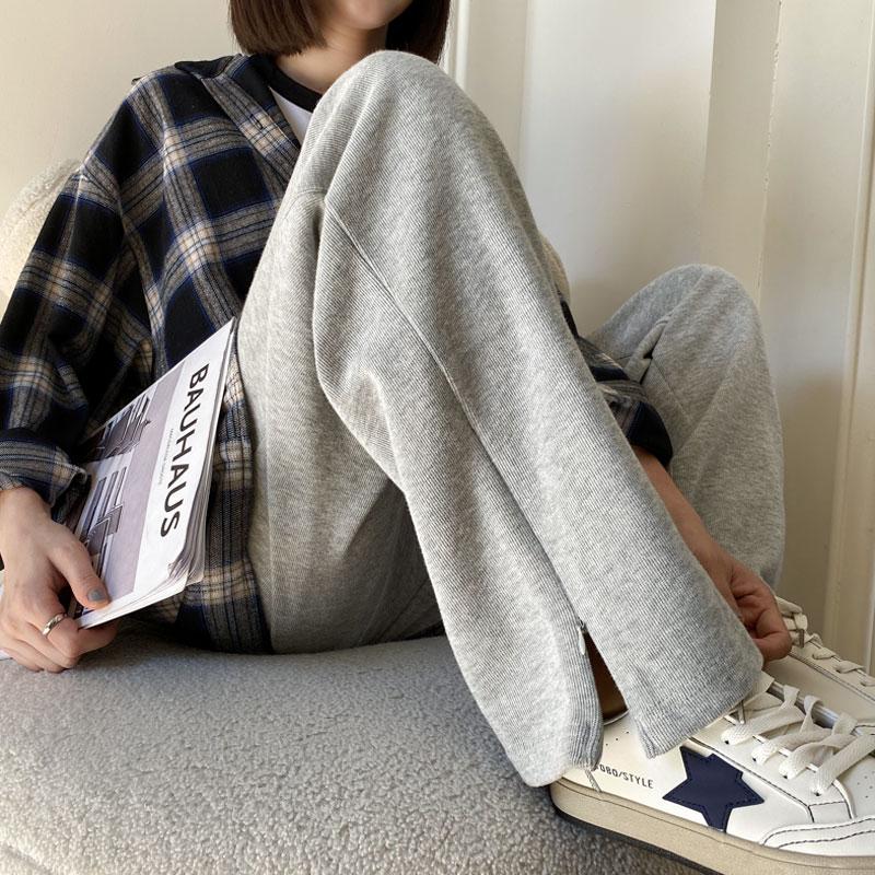 灰色开叉阔腿裤女宽松直筒垂感休闲卫裤春秋薄款小个子运动裤夏季