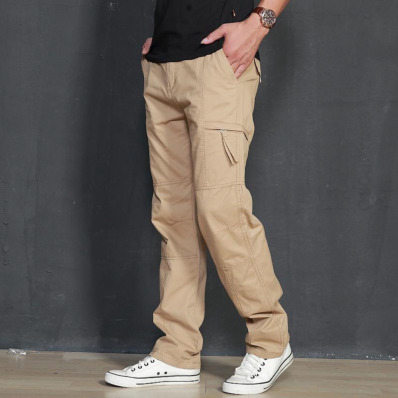 春夏季男装新款直筒潮流大码休闲裤子男宽松厚款多口袋工装长裤男