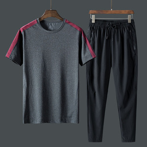 Pants men summer middle-aged and old father clothing sports and leisure quick-drying ice silk ultra-thin elastic waist trousers tide