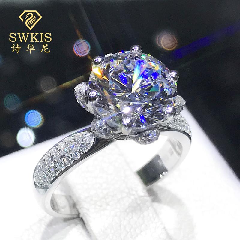 玫瑰花朵戒指女纯银复古奢华群镶钻仿真18K铂金莫桑石求婚礼首饰