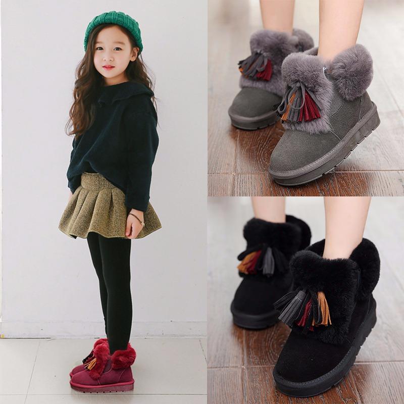 2017新款冬季女童真皮靴子公主流苏加绒短靴棉鞋中大童儿童雪地靴