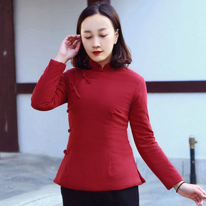 Chinese cotton coat women autumn and winter cotton and linen cheongsam coat tea clothes women's national style Tang suit cotton jacket long sleeve quilted cotton short section