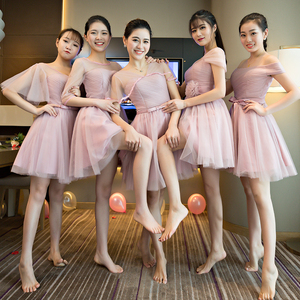 Bridesmaid dress sisters short paragraph 2018 new word shoulder pink Korean Slim was thin bridesmaid dress large size