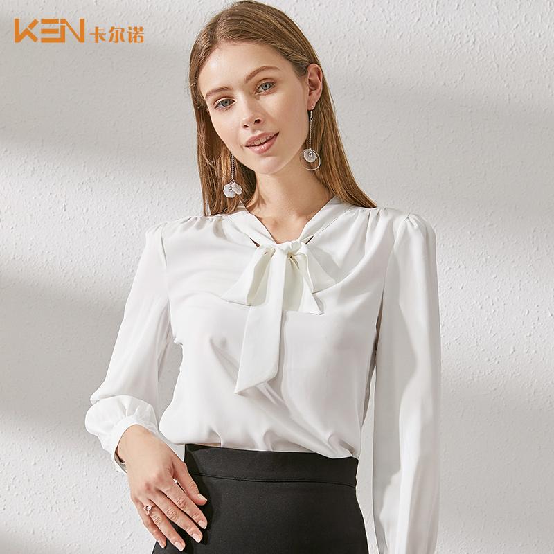 卡尔诺2019初秋季新款韩版宽松雪纺衬衫女装设计感小众复古上衣