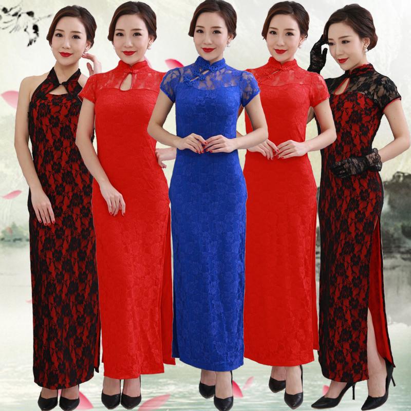 走秀舞蹈旗袍红色端午礼仪迎宾夜上海复古改良蕾丝长款舞台演出服