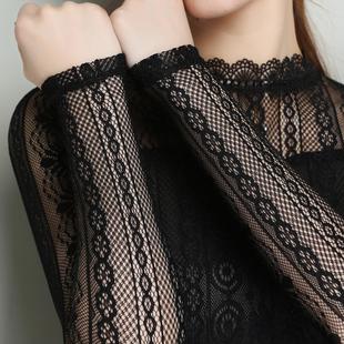 蕾丝上衣女长袖网纱打底衫半高领