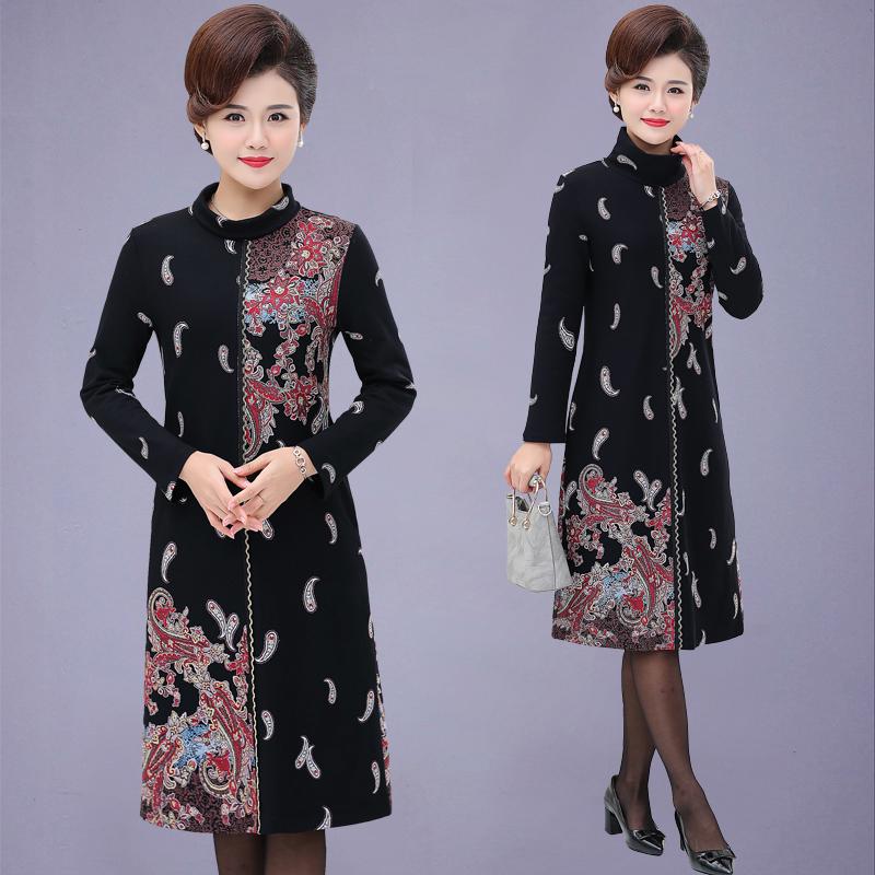 中老年妈妈装新款高领打底连衣裙中年女装40岁50过膝大码裙春秋