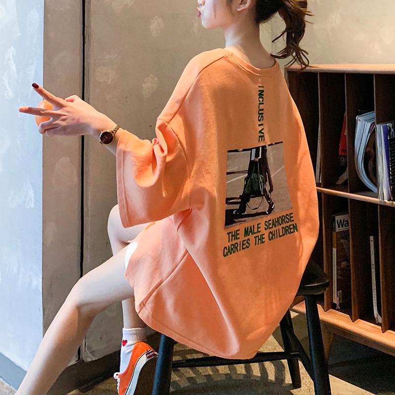 2019早春新款T恤女短袖ins潮宽松韩版学生橘色半袖港味夏季上衣