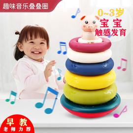 叠叠乐儿童益智玩具0-1-2周岁宝宝8个月婴幼儿音乐早教彩虹塔套圈