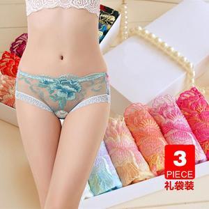 3条夏季刺绣女士内裤低腰蕾丝透明性感情趣内衣 女轻薄透气三角裤