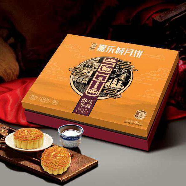 金品凤翅酥皮冬蓉月720g(180gX4个/盒)台山 嘉乐城 冬蓉月饼
