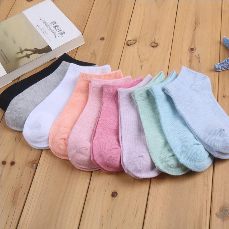 妙奈尔5双装袜子短袜浅口可爱隐形船袜薄款棉女士棉袜学院风百搭