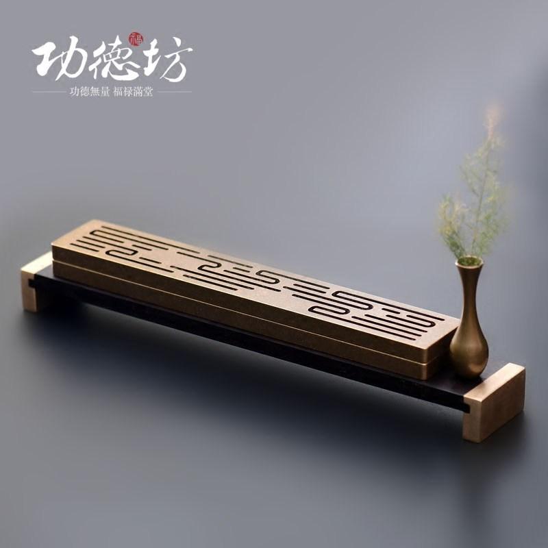 禅意茶道香插香盒家用线香炉室内纯铜卧香炉仿古礼品装饰礼物摆件
