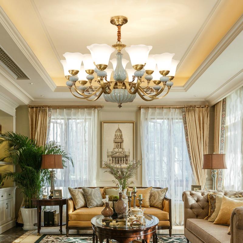 客厅吊灯美式全铜灯具欧式客厅灯餐厅复式楼大气奢华别墅陶瓷铜灯-世冠旗舰店