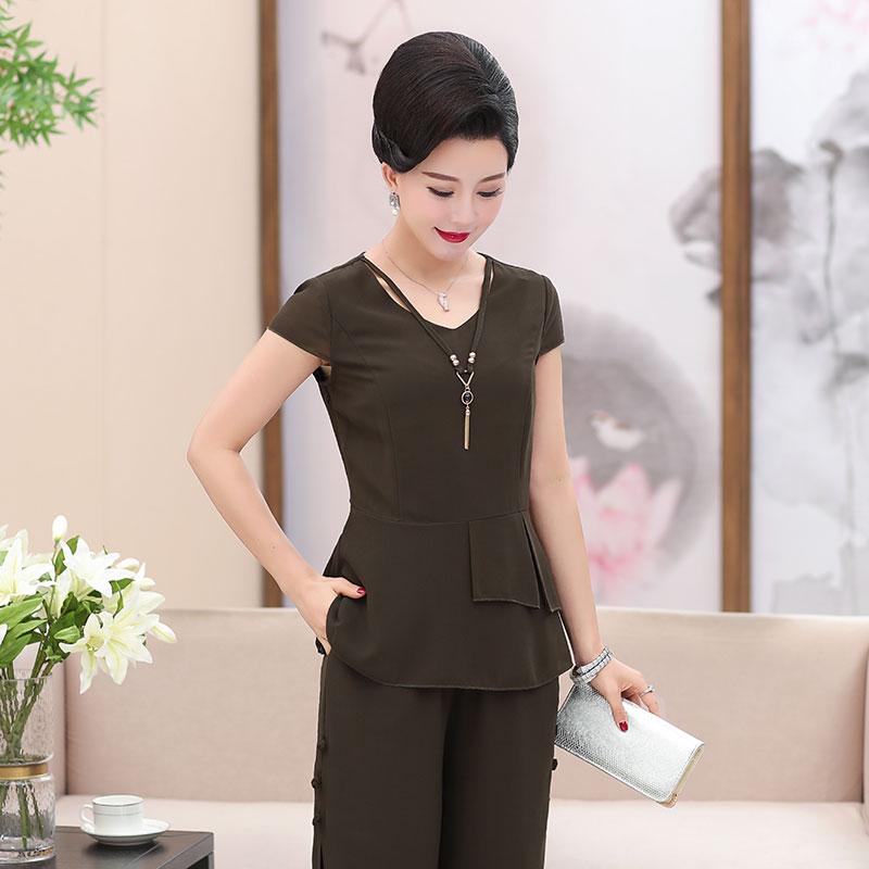 中老年女装夏装新款两件套40-50岁中年妈妈装夏季时尚纯色套装