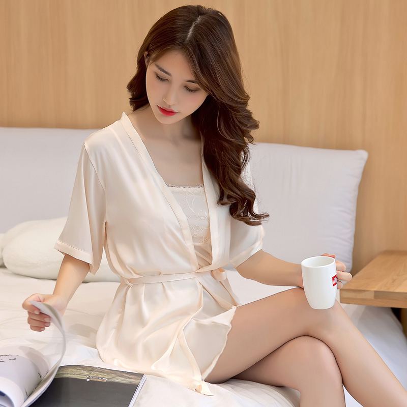睡衣女夏性感吊带睡裙两件套装丝绸短袖一字领睡袍冰丝薄款家居服