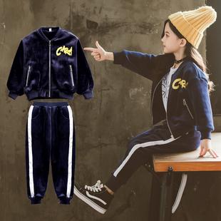 女童春秋2018新款金丝绒套装儿童冬季女孩时髦洋气运动两件套