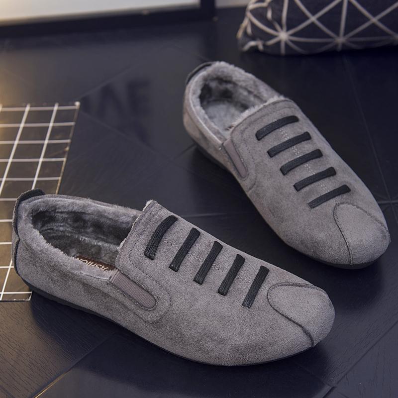 冬季加绒豆豆鞋男保暖棉鞋快手红人同款懒人鞋精神社会小伙男鞋子