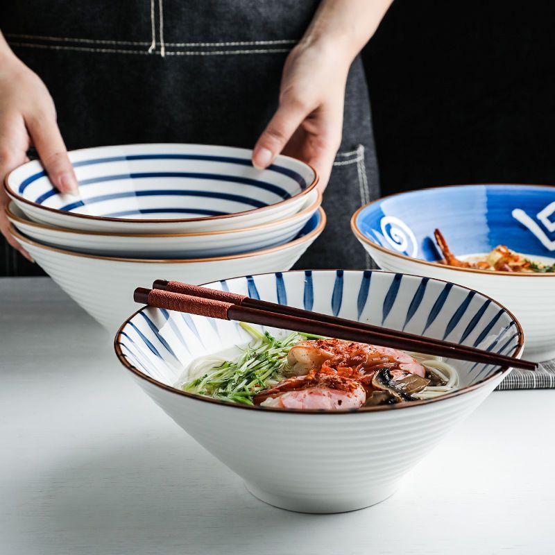 日式拉面碗单个家用创意斗笠碗饭碗吃泡面碗陶瓷餐具大号汤碗面碗