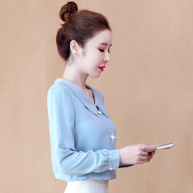 实拍2020秋季新款长袖雪纺衬衣娃娃领镶花边法式上衣韩版时尚洋气-锦轩时尚-