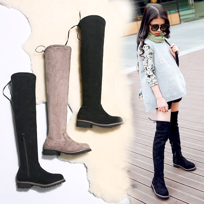 女童靴子过膝长筒靴儿童高筒靴秋冬季2017新款韩版女童鞋公主长靴