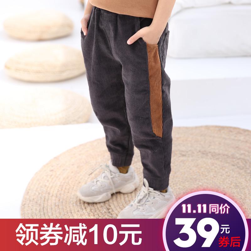 男童加绒裤子2018新款中大儿童灯芯绒保暖长裤宝宝加厚一体绒裤子