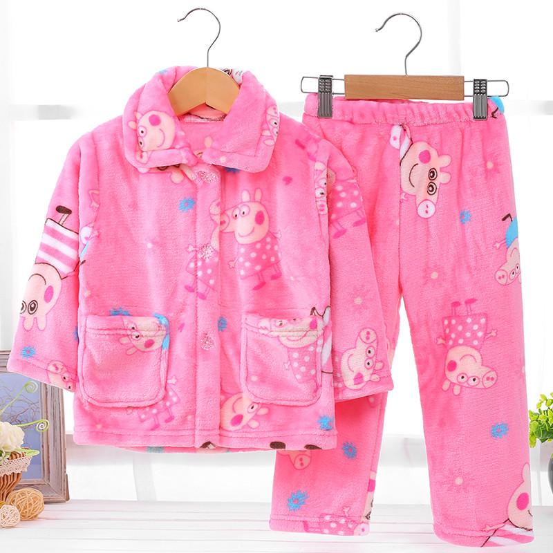 儿童 睡衣 法兰绒 秋冬季 长袖 套装 珊瑚绒 女童 男孩 宝宝 小孩 加厚 家居服
