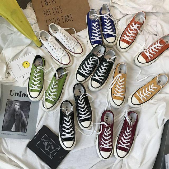 帆布鞋情侣小白鞋球鞋黑色板鞋1970S学生韩版平底休闲鞋平跟布鞋