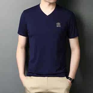 稻草人夏季V领丝光棉短袖T恤男士纯色薄款半袖韩版潮流男装纯棉图片