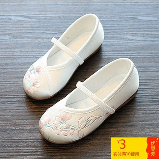 绣花鞋古装舞蹈鞋汉服儿童布鞋女童演出鞋六一小白民族风镂空女孩