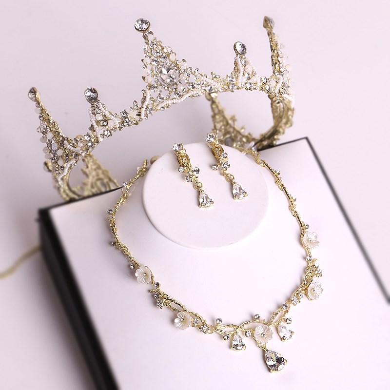 皇冠头饰网红同款生日韩式女孩超仙成年王冠水晶头纱礼物套装结婚