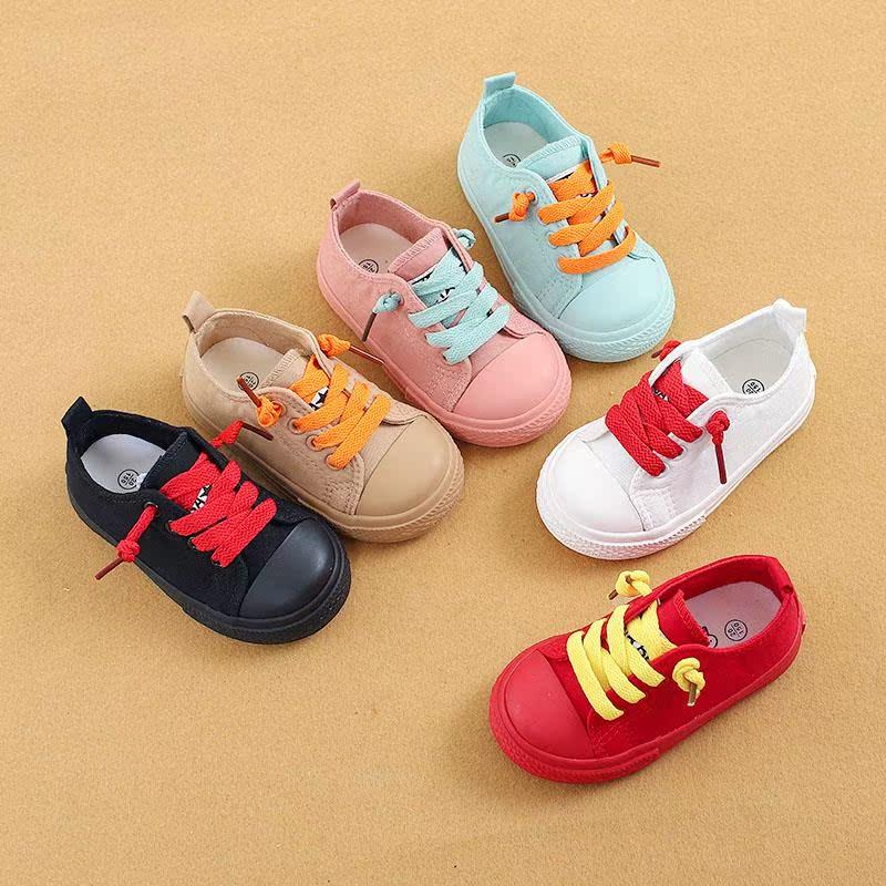 小童布鞋多彩男童宝宝帆布鞋1-2-3岁松紧宝宝布鞋女童懒人休闲鞋图片