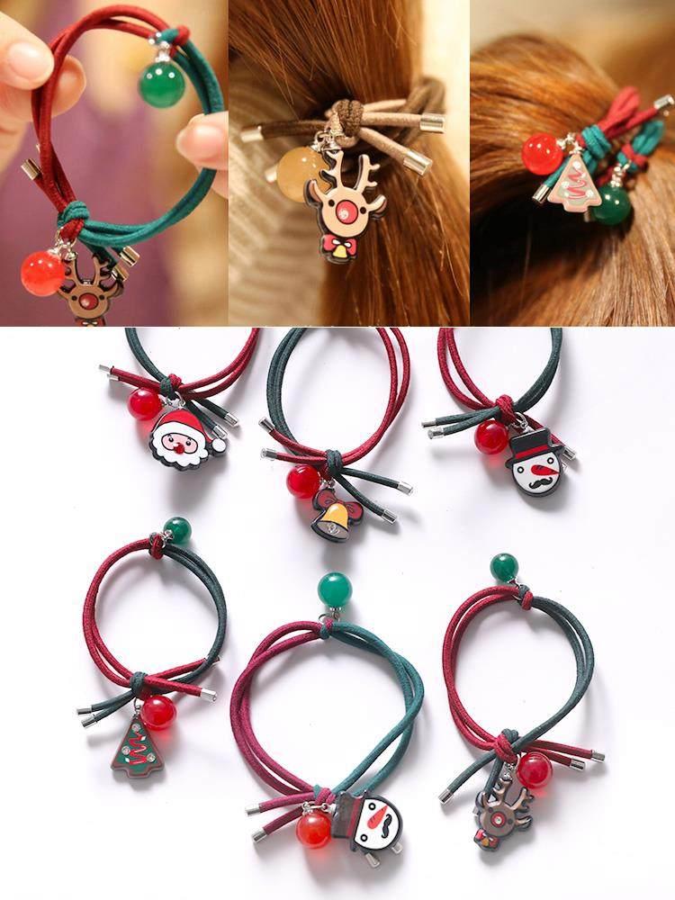 儿童圣诞头绳发饰宝宝可爱圣诞节麋鹿发圈发绳成人网红打结皮筋