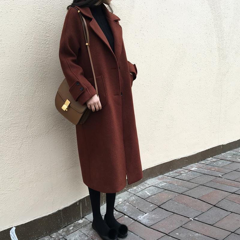 焦糖色大衣女中长款韩国2017秋冬新款明星毛呢外套显瘦过膝呢大衣