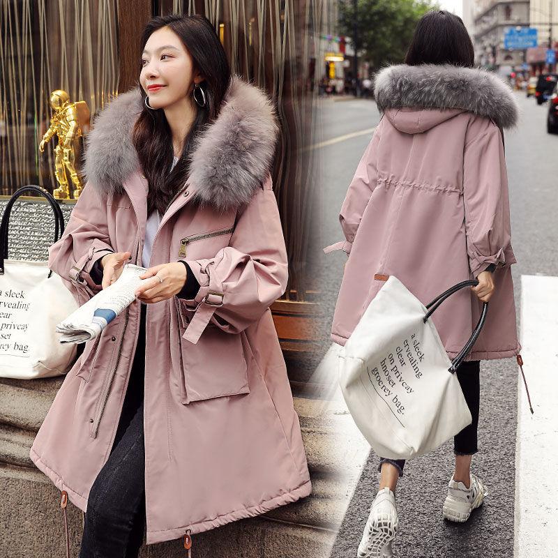 韩版宽松bf加绒棉服女中长款过膝冬季学生女装加厚棉衣棉袄外套潮