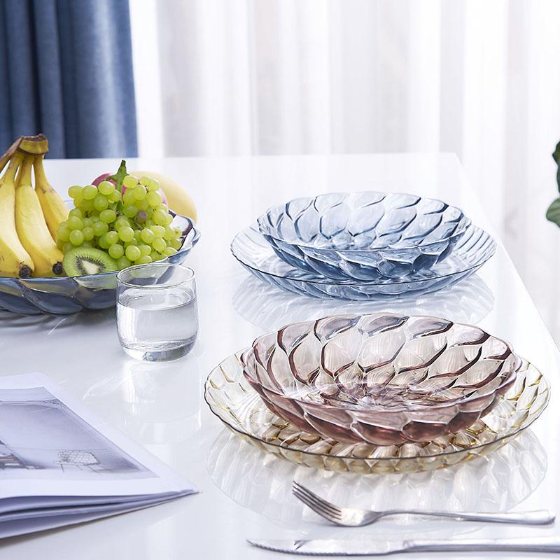 怡点 北欧客厅茶几家用干果盘创意现代客厅塑料糖果装水果的盘子