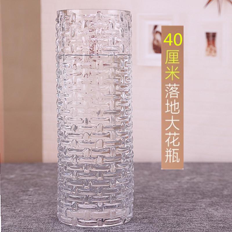 藤编直筒透明玻璃花瓶加厚大号富贵竹百合水培花器摆件40厘米