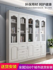 Simple bookcase bookshelf white wood modern minimalist small apartment bookcase with door glass door with drawer shelf