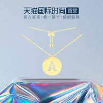 【直营】APM MONACO新款小众时尚圆牌金色字母项链锁骨链饰品礼物