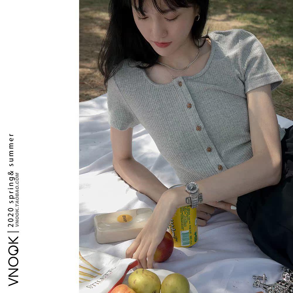 VNOOK 针织短款T恤女短袖2020夏季新款纯色坑纹修身U领上衣