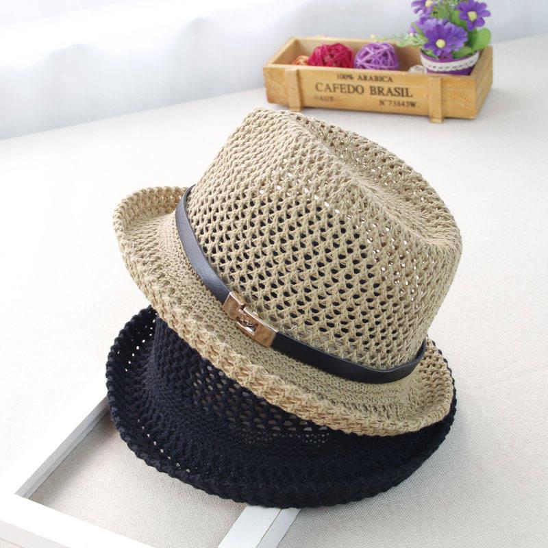儿童草帽男童爵士帽春夏季出游防晒女宝宝遮阳帽透气镂空沙滩帽潮
