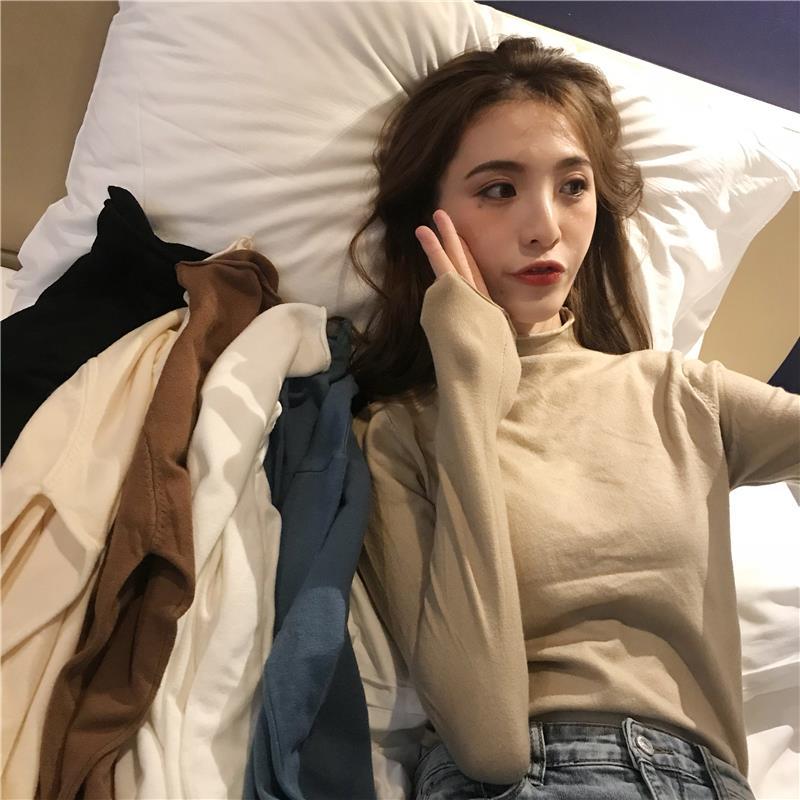 古着毛衣女内搭长袖秋季2019新款心机打底衫修身半高领针织上衣潮