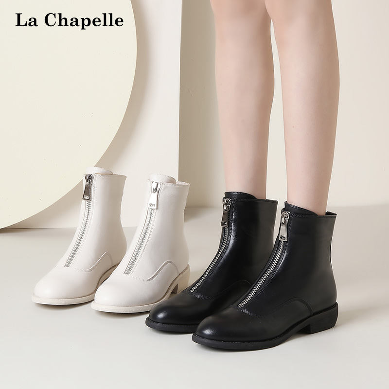 拉夏贝尔马丁靴女英伦风2019新款百搭前拉链中筒粗跟短靴春秋单靴优惠券