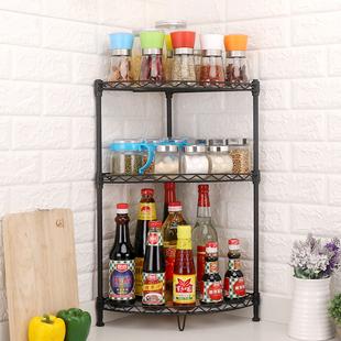厨房三角置物架调料架转角调味品收纳架调味料架油盐酱醋架可调节