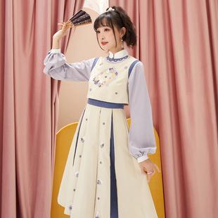 十三余小豆蔻儿[紫雪兔]国风刺绣拼接绣花日常连衣裙秋冬季图片