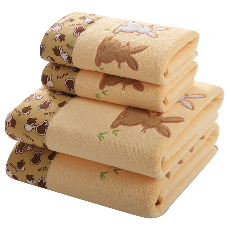 【浴巾+毛巾】成人加大比纯棉吸水男女儿童大号沙滩浴巾洗脸洗澡