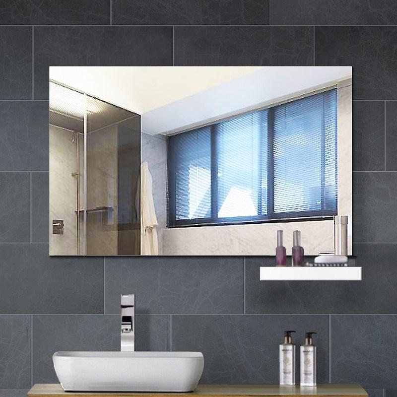 简约黏贴浴室镜子粘贴无框洗手间卫浴镜卫生间镜子壁挂化妆镜欧式图片