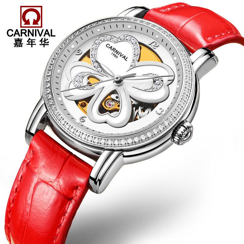 时尚流行女士腕表嘉年华CARNIVAL品牌手表女镂空防水夜光自动机械