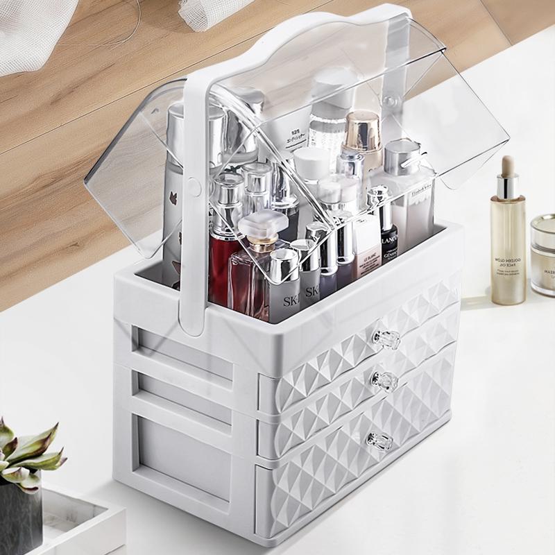 网红化妆品收纳盒防尘亚克力桌面化妆盒大梳妆台护肤品口红置物架