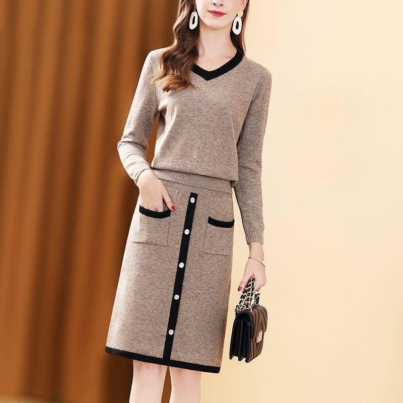 百搭毛衣女套装裙两件套2020新款秋冬气质减龄显瘦针织套装女时尚